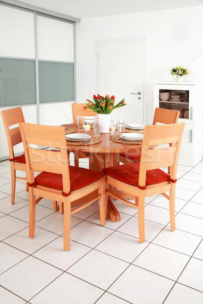 Cozinha sala de jantar interior família casa projeto Foto stock © brebca