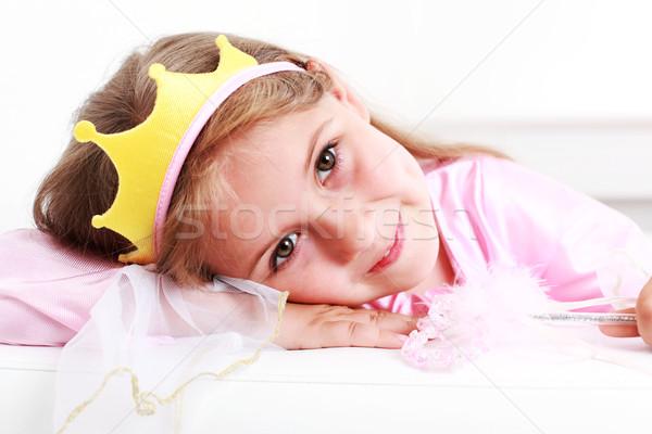 Kicsi hercegnő gyönyörű kicsi lány jókedv Stock fotó © brebca
