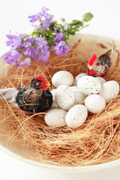 Festett húsvéti tojások kosár húsvét virág festék Stock fotó © brebca