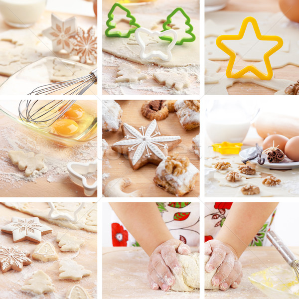 Christmas baking collage Stock photo © brebca