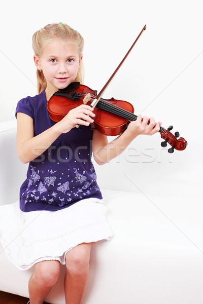 Little girl playing violin Stock photo © brebca