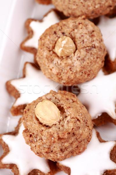 Delicioso Navidad cookies detalle placa alimentos Foto stock © brebca