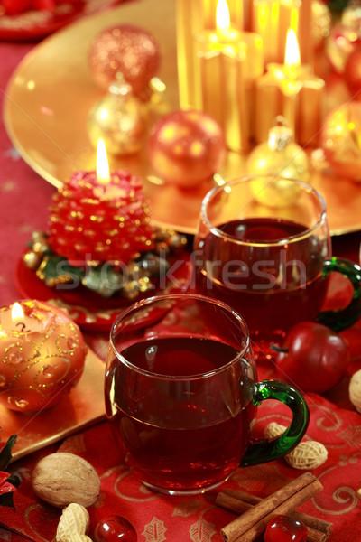 Gorący napój christmas martwa natura Świeca czerwony herbaty Zdjęcia stock © brebca