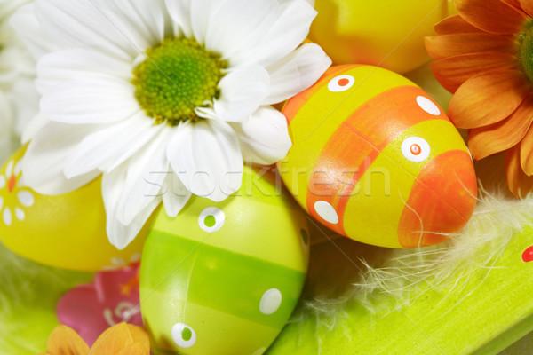 Húsvét részlet húsvéti tojások tavasz tojás asztal Stock fotó © brebca