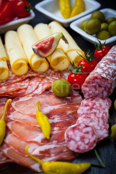Antipasti restauración diferente carne queso productos Foto stock © brebca