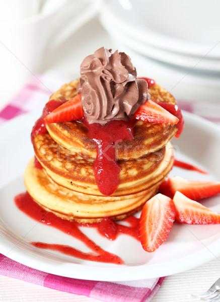 ストックフォト: 甘い · パンケーキ · イチゴ · ソース · チョコレート · クリーム