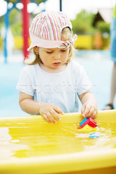 Portret cute baby gry zabawki dziewczyna Zdjęcia stock © brebca