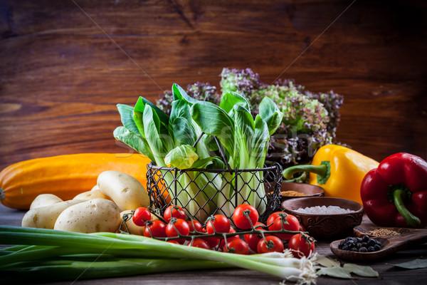 Sebze baharatlar ahşap masa bahçe yeşil Stok fotoğraf © brebca