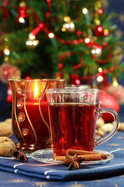 Bebida quente natal delicioso bolinhos árvore vela Foto stock © brebca