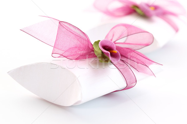 Small gift box decorated with ribbon Stock photo © brebca