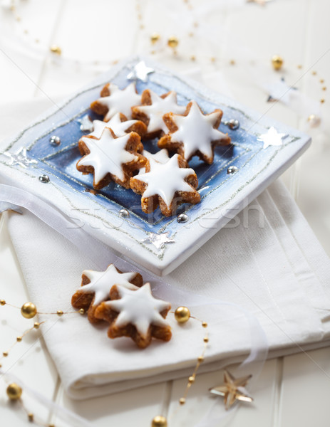 Eigengemaakt peperkoek star cookies christmas plaat Stockfoto © brebca