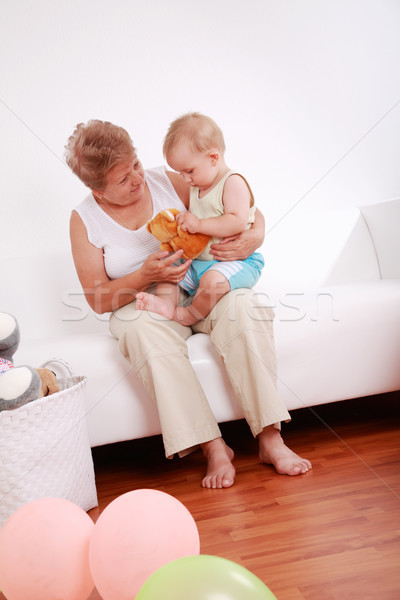 Stock photo: Playing with granny