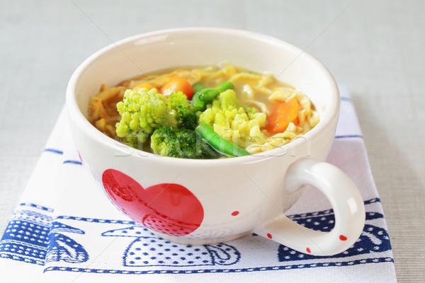 Stok fotoğraf: Tavuk · çorba · gıda · makarna · plaka