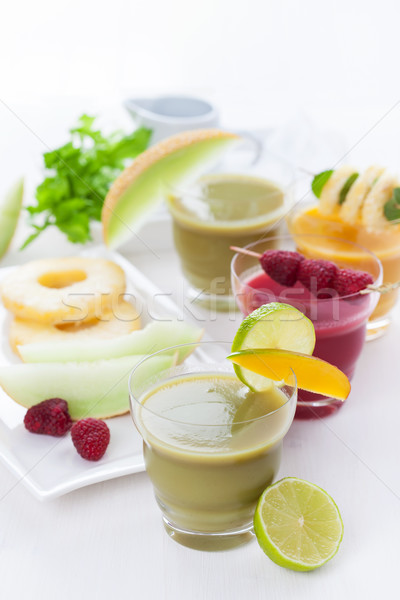 Variation of fruit and vegetable smoothies Stock photo © brebca