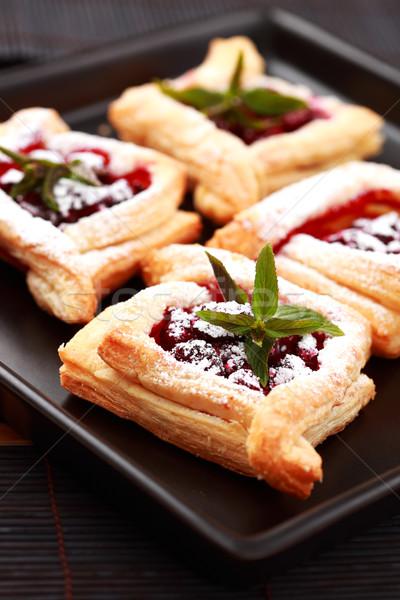 Cseresznye sütemény finom porcukor étel torta Stock fotó © brebca
