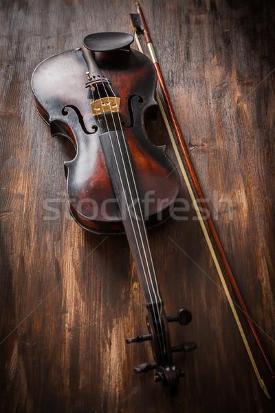 öreg hegedű klasszikus stílus fa művészet Stock fotó © brebca