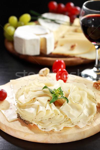 Foto stock: Queso · salami · hierbas · vegetales · alimentos · vino
