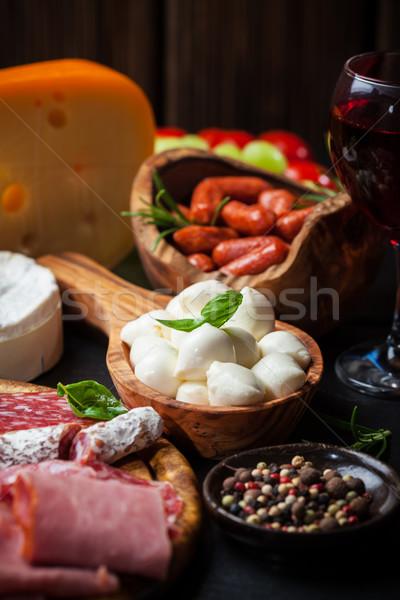 Catering diferente carne queijo produtos comida Foto stock © brebca