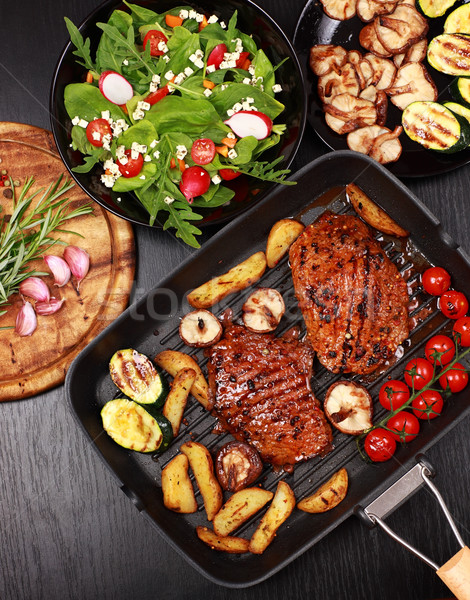 Beef steak with grilled vegetable Stock photo © brebca