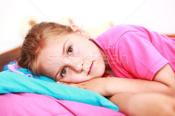 Insomnie faible fille souffrance famille triste Photo stock © brebca