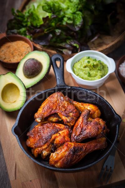 ızgara tavuk bacaklar kanatlar salata gıda tavuk Stok fotoğraf © brebca
