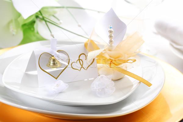 Düğün yer beyaz altın çiçek cam Stok fotoğraf © brebca