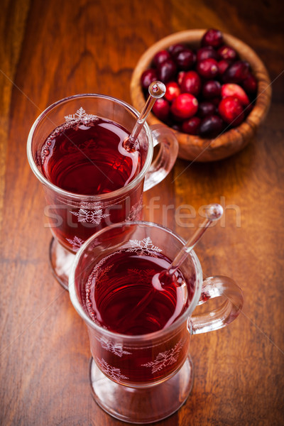 Hot mulled wine with cranberries Stock photo © brebca