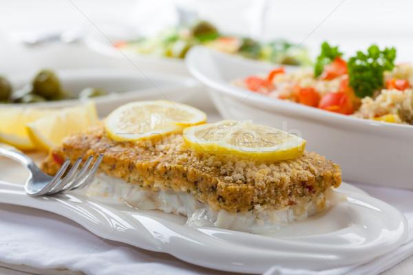 Pesce filetto couscous insalata fresche Foto d'archivio © brebca