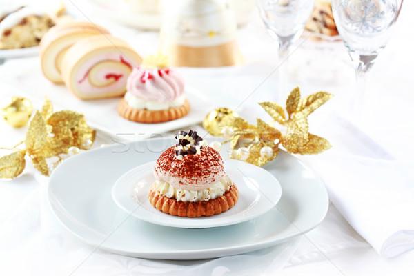 Slagroom gebak christmas heerlijk voedsel bal Stockfoto © brebca