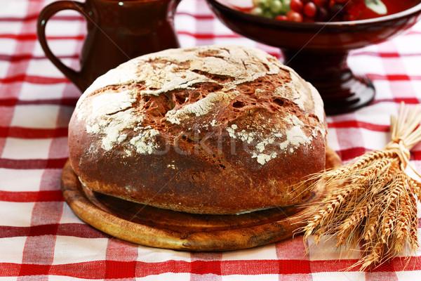 Pan pan rústico negro fondo trigo Foto stock © brebca