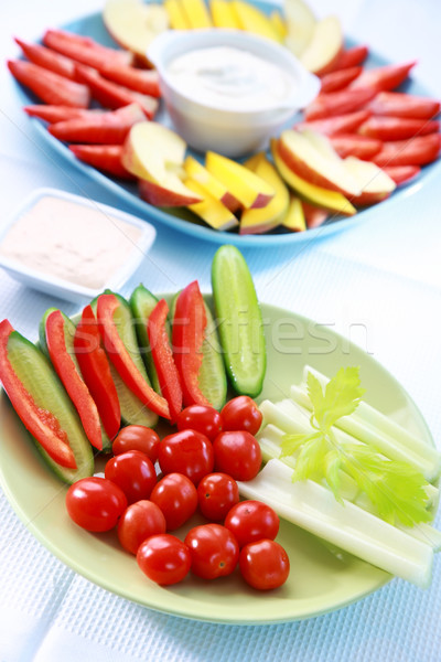 Raw vegetable and fruits with dip Stock photo © brebca