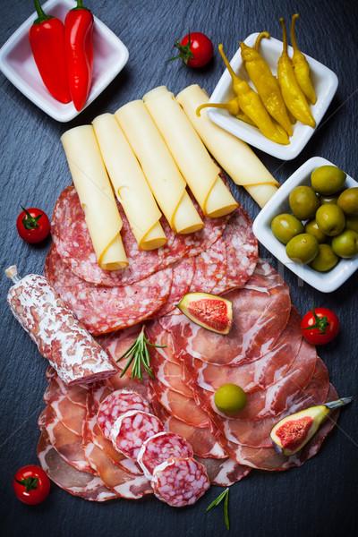 Antipasti catering diferente carne queijo produtos Foto stock © brebca
