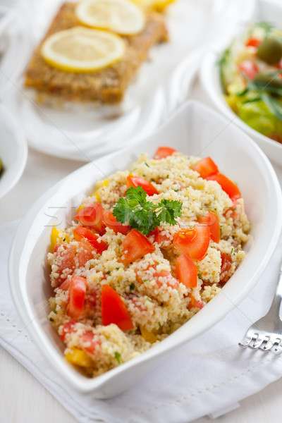 Cuscús ensalada tomate pimienta aceitunas alimentos Foto stock © brebca
