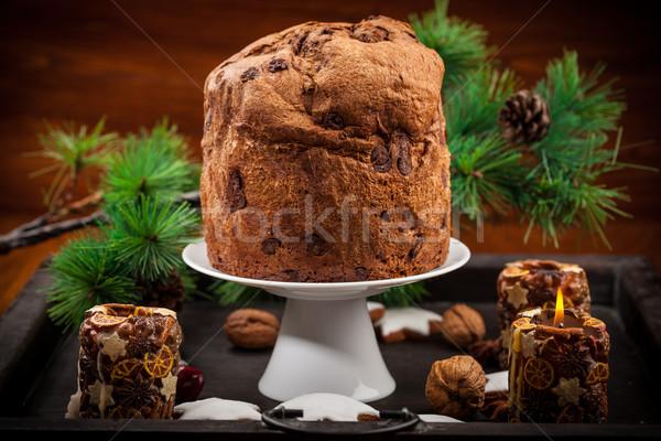 Chocolate panettone cake for Christmas Stock photo © brebca