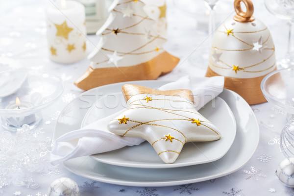 Stockfoto: Feestelijk · tabel · christmas · witte · gouden · cake