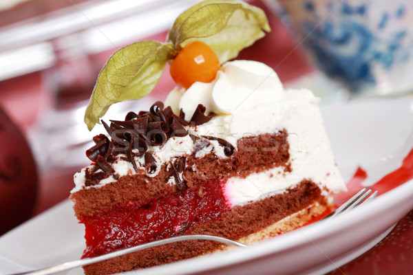 Cherry sponge cake with cream Stock photo © brebca