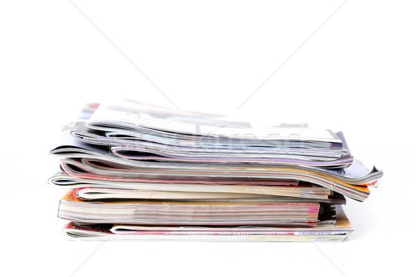 Lot magazines isolé blanche papier nouvelles Photo stock © brebca