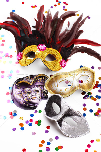 Carnaval masques masque confettis blanche amusement Photo stock © brebca