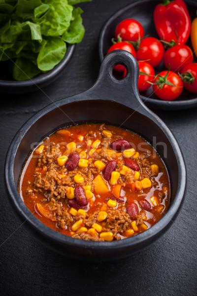 Chilli con carne in pan Stock photo © brebca