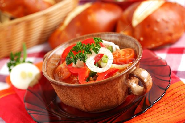 Húngaro vegetal ensopado pimentas cebola tomates Foto stock © brebca