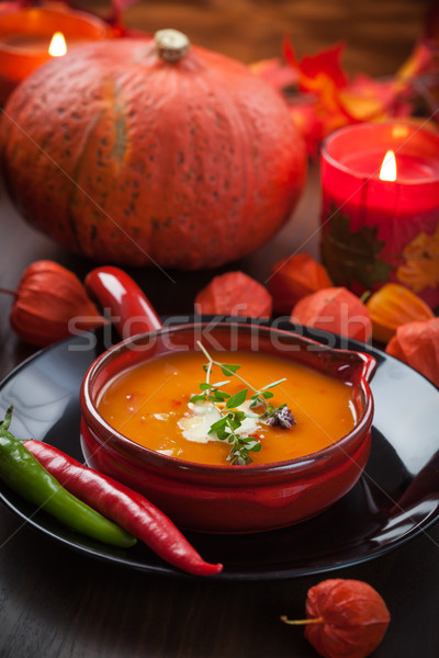 Kürbis Suppe Chili Danksagung orange Leben Stock foto © brebca