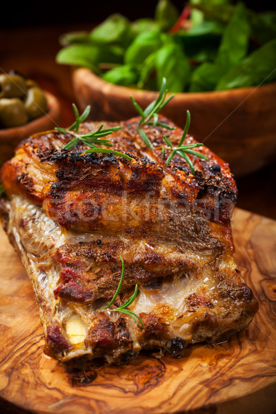 Roasted pork with salad Stock photo © brebca