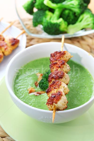 ストックフォト: ブロッコリー · スープ · 鶏 · アーモンド · ディナー