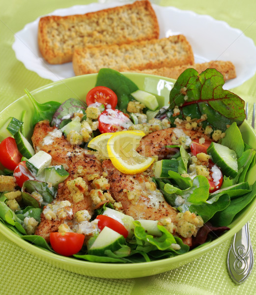 Green salad with chicken stripes Stock photo © brebca