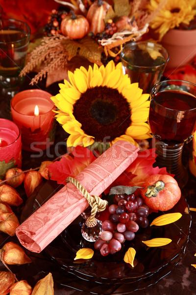 Yer Şükran Günü tablo sonbahar dekorasyon elma Stok fotoğraf © brebca