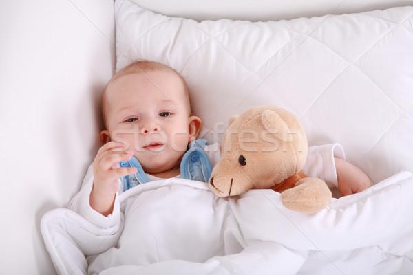 Baby with teddy Stock photo © brebca