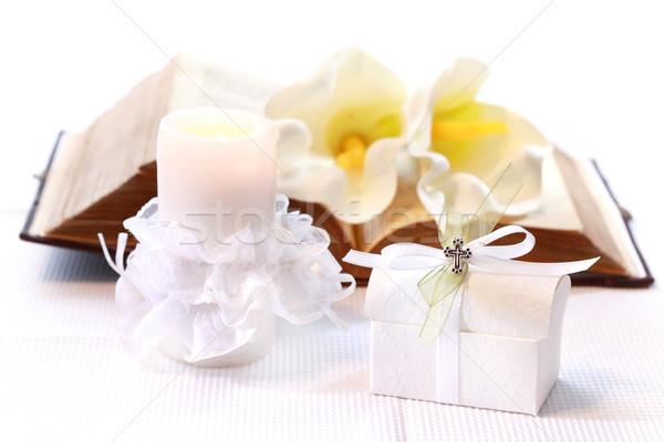 Première communion confirmation bougie ouvrir Photo stock © brebca