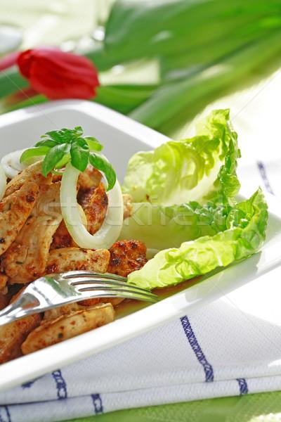 Tyúk csíkok saláta pörkölt egészség zöld Stock fotó © brebca