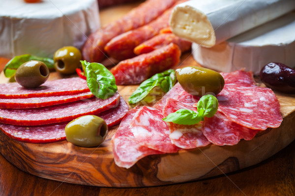 Salami catering platter with different meat and cheese products Stock photo © brebca