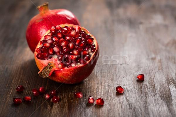 Melograno frutta legno vintage bere rosso Foto d'archivio © brebca